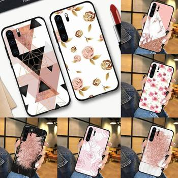Marble Gold Rose Glitter Phone Case For Huawei P 9 8 10 40 Mate 30 Honor 8 8A 20 20s 9x nova 6se 5t Y9s PSMART lite pro 2017 image