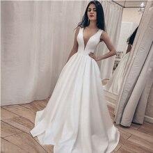Simple Satin Deep V Slim Wedding Dress Beach Off White Belt Sexy Weddingdress Church Dresses