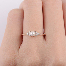 Sweet Romantic Pearl Love Heart Crystal 6/7/8/9/10# Geometric Gold/Silver Ring Womens Party Jewelry