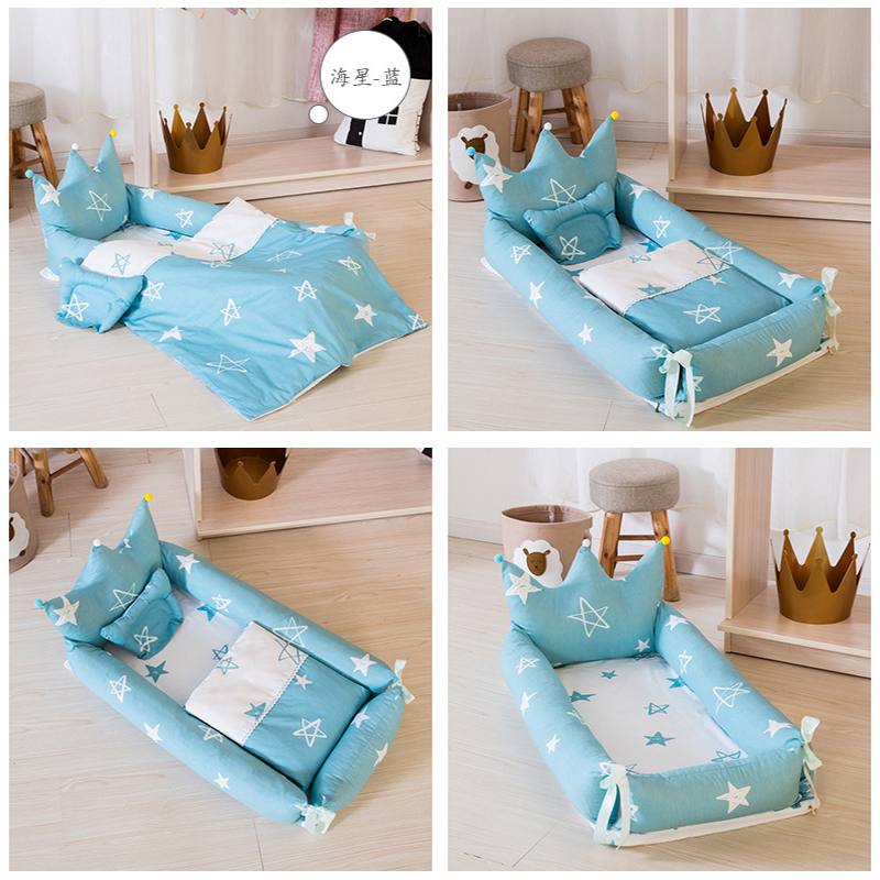 Portable Crib Newborn Baby Nest Sleeping Basket Bumpers Baby Pillows Quilt Bed Toddler Anti-rollover 3pcs/set YHM001