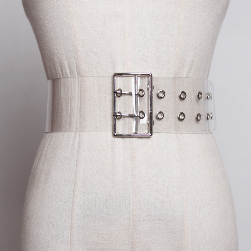 2020 Fashion Wide Belt Stylish PVC Transparent Belt Solid Corset Belt Trendy Waistband Female New Design Belts For Women ZK630