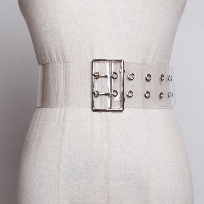 2020 Fashion Wide Belt Stylish PVC Transparent Belt Solid Corset Belt Trendy Waistband Female New Design Belts For Women ZK630