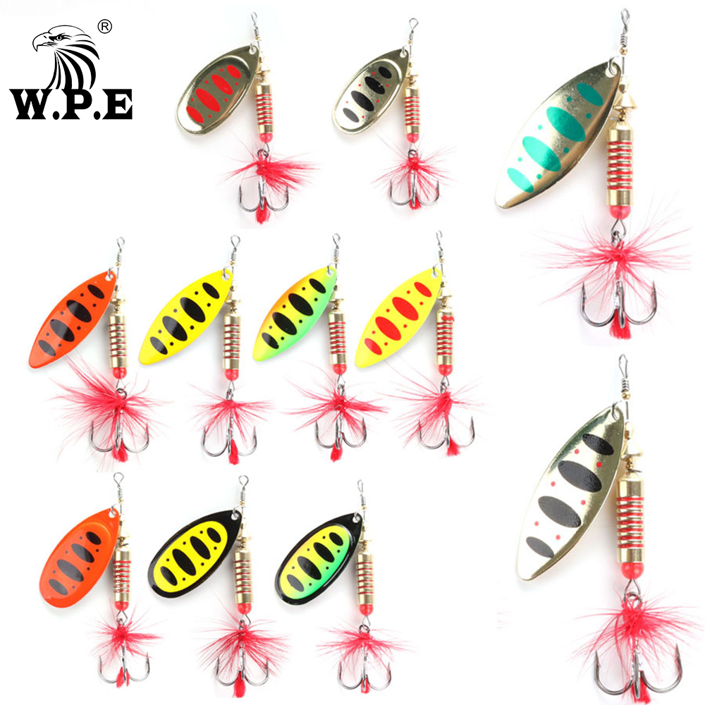 W.P.E Brand Spinner Lure 1pcs 6.5g/10g/13.5g 18 color with Treble Hook Metal Spoon Lure Hard Fishing Lure Fishing Tackle Bait