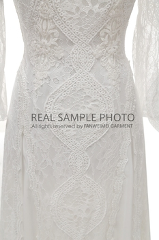 Factory Price 100 % Real Sample Photo Long Sleeve Backless O-Neck Lace Boho Bohemian  Beach Wedding Dress Bridal Gown 5