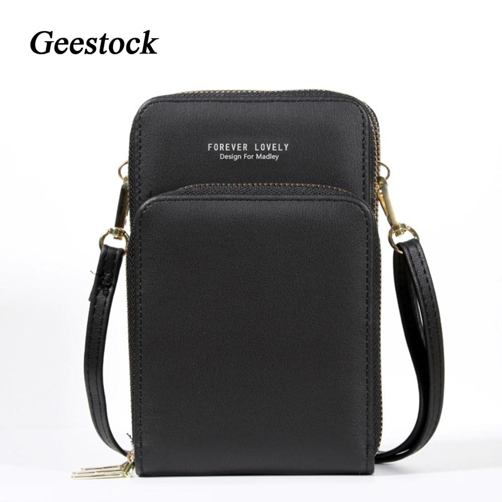 Geestock Women Shoulder CellPhone Bag Mini Wallet Large Capacity Zipper Purses Luxury Leather Messenger Crossbody Bags