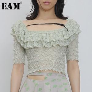 [EAM] Women Green Ruffles Lace Split Blouse New Round Neck Short Sleeve Loose Fit Shirt Fashion Tide Spring Summer 2020 1U566