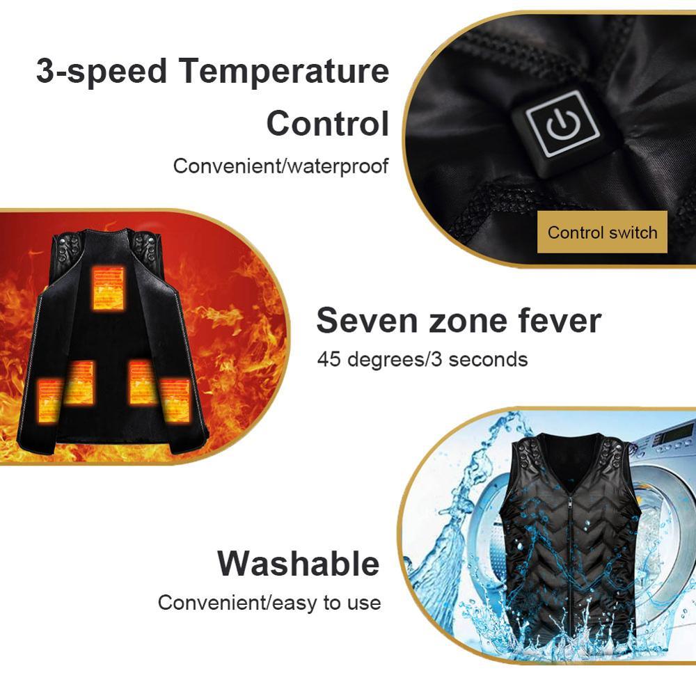 USB 5% 2F7 зона обогрев жилет двойной управление переключатель зарядка умный обогрев одежда электрический постоянный температура зима тепло талия