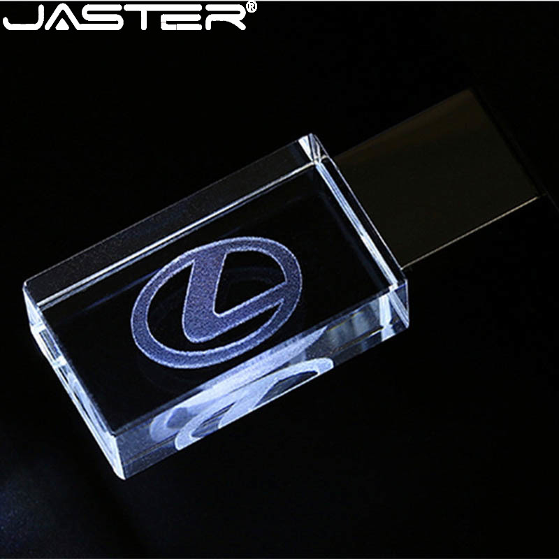 JASTER Lexus Crystal + Metal USB Flash Drive Pendrive 4GB 8GB 16GB 32GB 64GB 128GB External Storage Memory Stick U Disk
