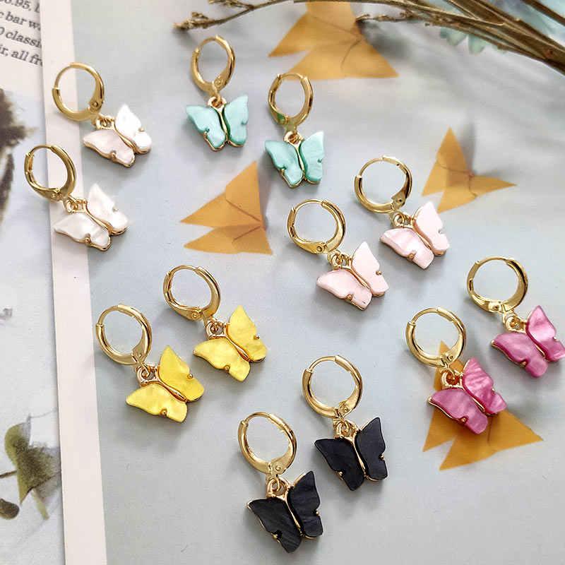 Flatfootsie nouveau papillon boucles d'oreilles goutte pour les femmes géométrique creux fleur coquille coeur ouvrable suspendus boucles d'oreilles bijoux de mode