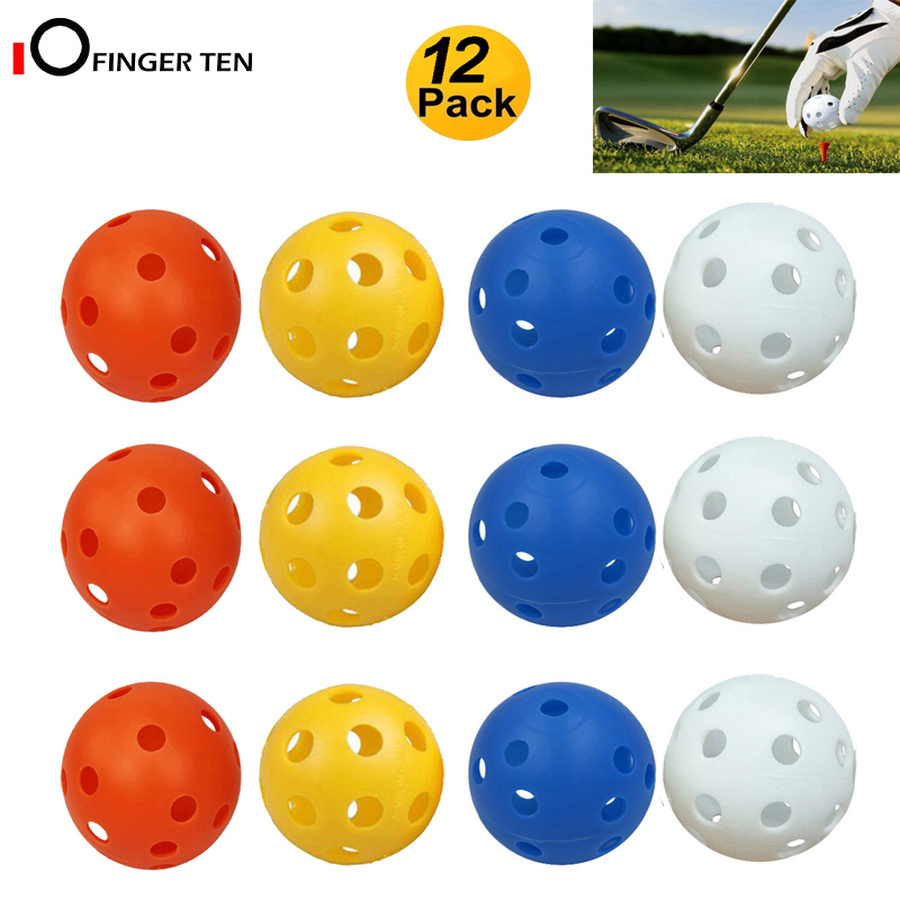 12 Pcs Practice Golf Balls Plastic Wiffle Airflow Hole Colored Hollow Ball For Kids Men Women Indoor Outdoor Training