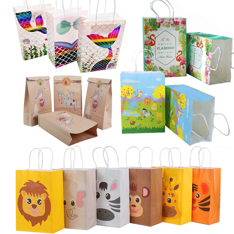13pcs Animals Bags Treat Kids Or Guests Gift Bag With Handle Jungle Safari Box Candy Packing Birthday Party Favors Decoration
