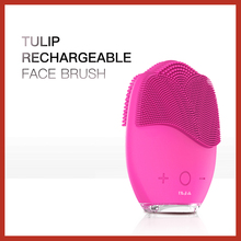 BLINGBELLE Rechargeable Natural Silicone Face BrushTulip Sonic High Frequency Vibration Electric For Washing Skin Care