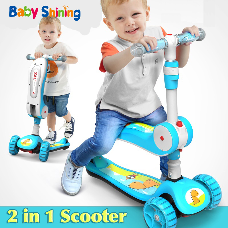 Baby Shining Kids Scooter Ride on Toy Car Bicycle Outdoor Toys 2 in 1 Baby Flash Wheels Folding Skateboard 3-12Y