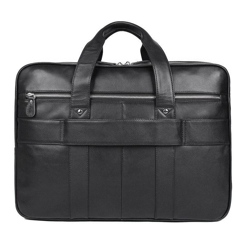 Bolsa de maletín para hombre de alta calidad, bolsa de negocios, para ordenador de 17 pulgadas, negra, marrón, nueva moda, para hombre - 4