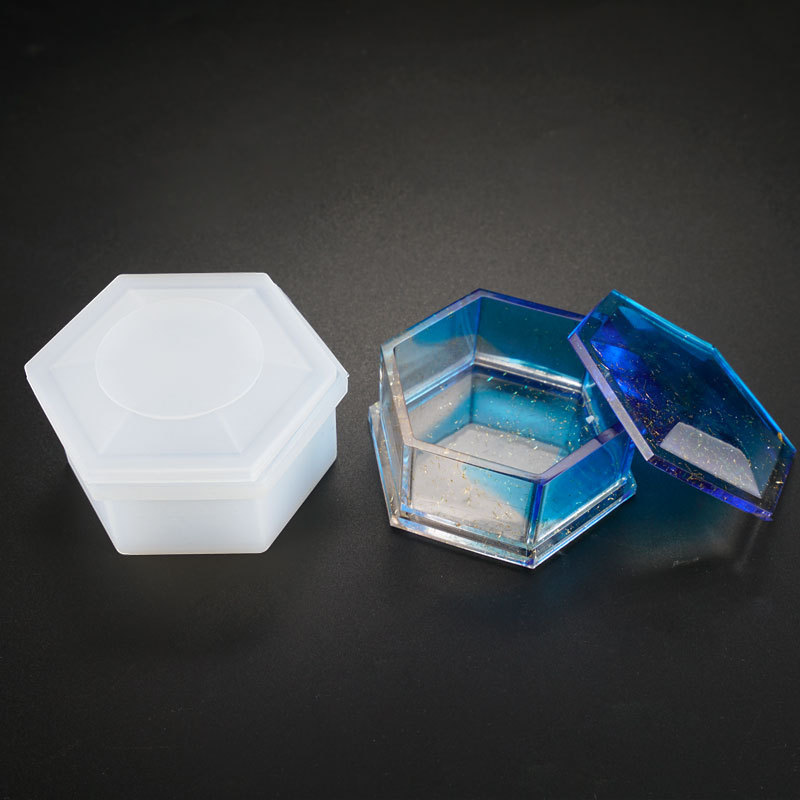 SNASAN Storage Box Hexagon Shape Resin Silicone Mould Jewelry Making DIY Tool UV Epoxy Resin Box Silicone Mold