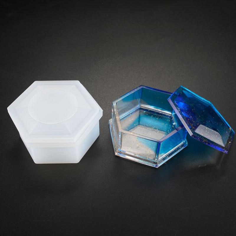 SNASAN Storage Box Hexagon Shape Resin Silicone Mould Jewelry Making DIY Tool UV Epoxy Resin Box Silicone Mold