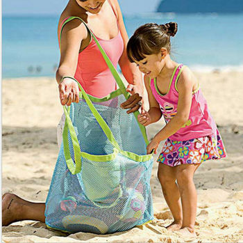 US Children Beach Mesh Bath Toys Storage Bag Tote Kids Large Folding Net Bags