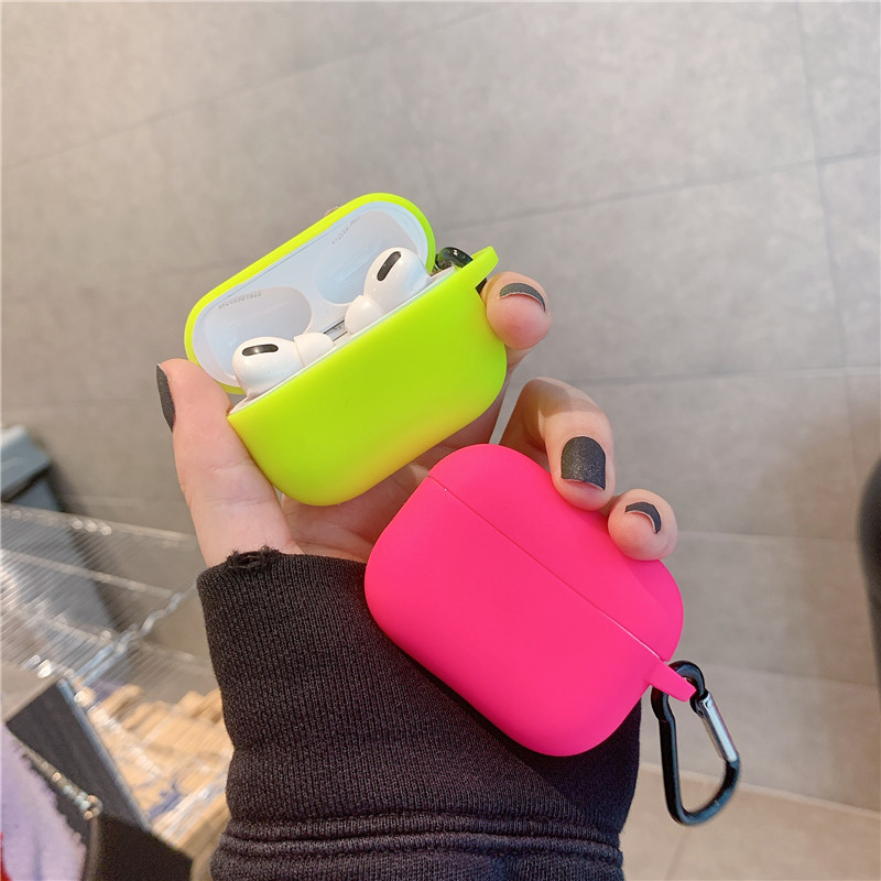Fluorescent Neon Solid Color For Apple Airpods Pro 3 2 1 Case Wireless Earphone Protective Cover For Air Pods Pro Headphone Case