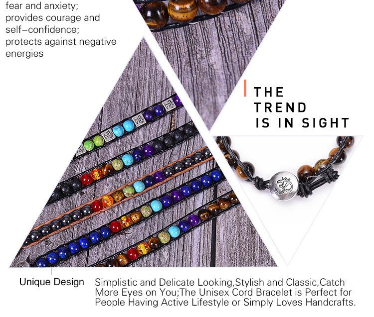 Hed432c2d27894f22ab6e6c2a1507ae465 - New Colorful 7 Chakra Bead Leather Rope Braided Bracelet Natural Tiger's Eye Volcanic Stone Energy Yoga Bracelet Women Jewelry