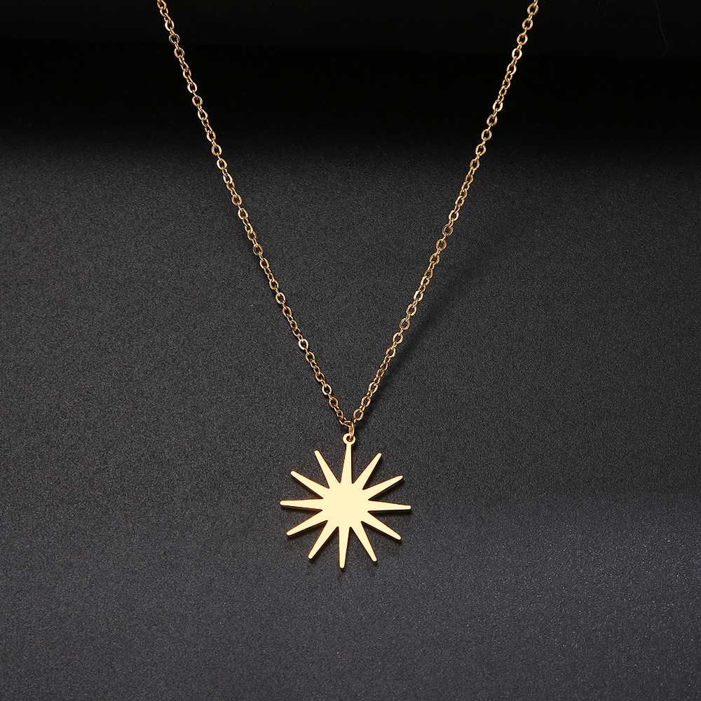 Gold Circle Irregular Sun Necklace For Women Stainless Steel Hollow Out Round Sweater Pendant Necklaces Sun God Jewelry Gift