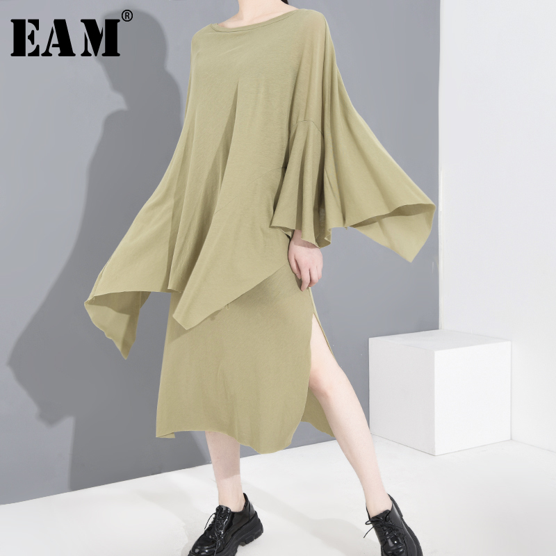 [EAM] Women Green Irregular Long Big Size Dress New Round Neck Long Sleeve Loose Fit Fashion Tide Spring Summer 2020 1U05206