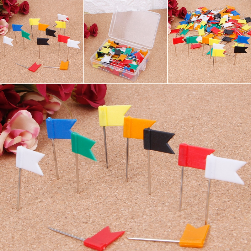 100 Pieces Mixed Color Flag Push Pins Nail Thumb Tack Map Drawing Pin Stationery DXAC