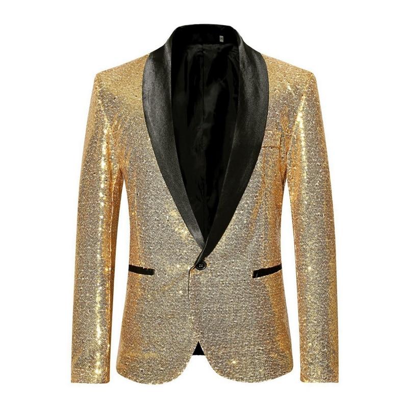 Shiny Gold Sequin Bling Glitter Blazer Men 2019 New Shawl Collar Club DJ Mens Blazer Jacket Stage Clothers For Singers