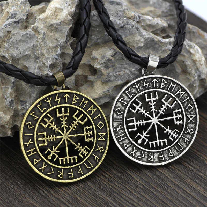 バイキング北欧ヘルメットホラーで Runic サークルネックレス魔法譜表スカンジナビアコンパスルーンお守りコリアーペンダントとチェーン