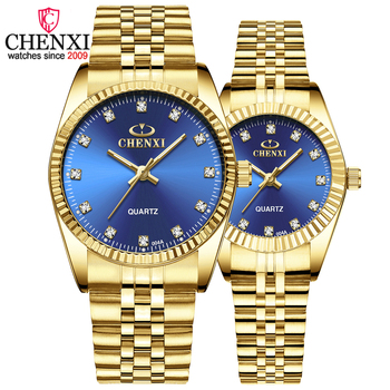 CHENXI Fashion Luxury Men Women Watch Gold Blue Quartz Wrist Watch Stainless Steel Couples Clock Casual Waterproof Mens Watches