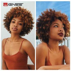 Image 2 - Wignee короткие волосы афро кудрявые вьющиеся термостойкие синтетические парики для женщин смешанный коричневый Косплей африканские прически повседневные волосы парик