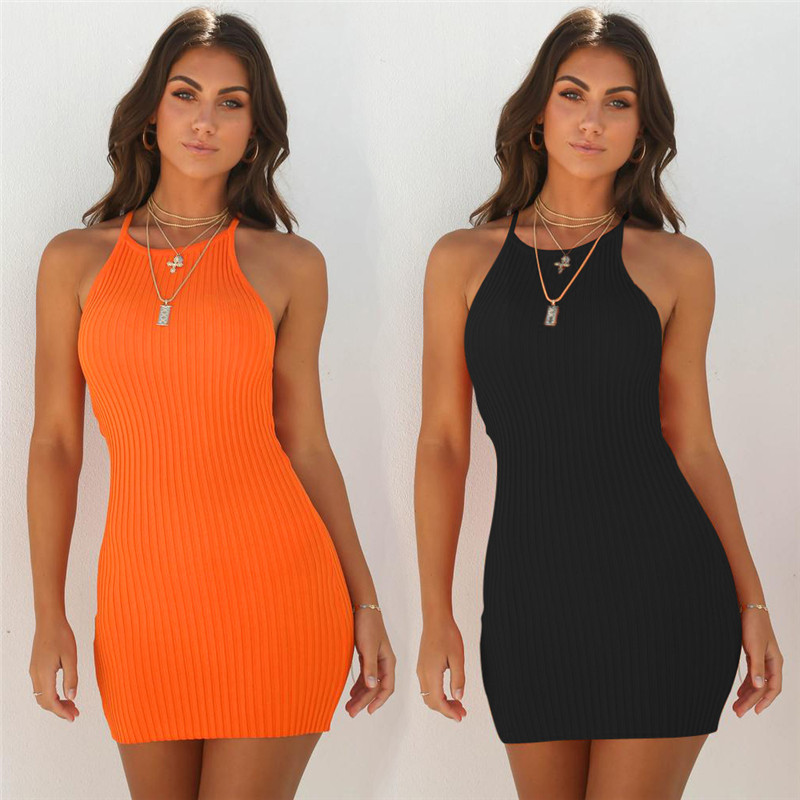 Ribbed Dress Women Summer Dress Sexy Sleeveless Sling Bodycon Dress Fashion Solid Color Mini Dress Elegant Office Lady Clothing