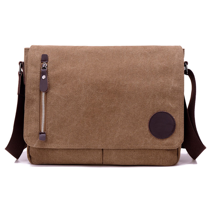 Canvas Casual&Business Men's Messenger Bag CrossBody Shoulder Bags Zipper Flap Satchel A4 Flie Pack For Laptop Computer