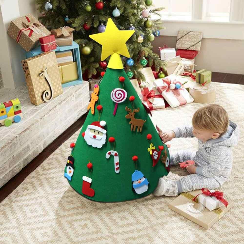 Ourwarm crianças diy sentiu árvore de natal com ornamentos crianças presentes de ano novo para porta parede pendurado decoração festa