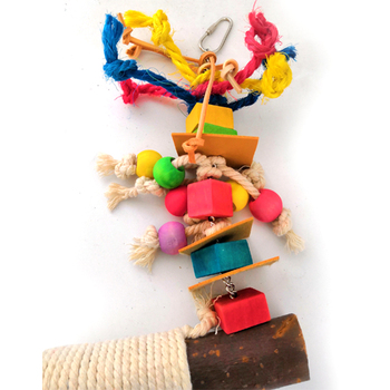 Parrot Chewing Bite Hanging Cage Pet Bird Parrot Chew Toy Bird Perch Leather Colorful Wood Building Block Cotton Rope Big Swing 2