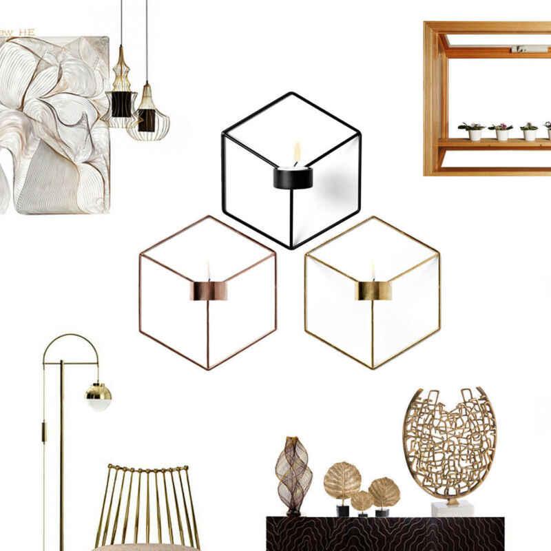 3D nowoczesny styl ściany świecznik świecznik pasujący mały Tealight ozdoby do domu geometryczny świecznik metalowy