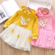 Baby Girl Dress 1-6T New Autumn Letter Print Hooded Mesh Stitching Sweater Dress Princess Cute Toddler Girl Long Sleeve Dress #m