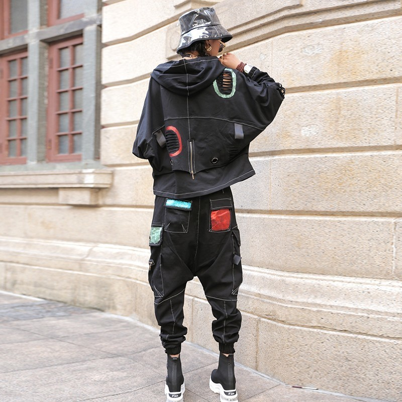 Spring New Women Two Piece Outfits Gothic Batwing Sleeve Hooded Hole Ripped Sweatshirt Hip Hop Pockets Cross Full Length Pants