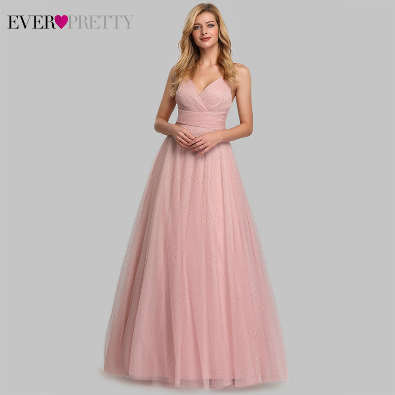 Cute Pink Bridesmaid Dresses For Women Ever Pretty EP07905PK A-Line V-Neck Tulle Sparkle Wedding Guest Dresses Sukienki Weselne