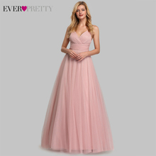 Cute Pink Bridesmaid Dresses For Women Ever Pretty EP07905PK A Line V Neck Tulle Sparkle Wedding Guest Dresses Sukienki Weselne