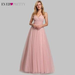 Image 1 - Cute Pink Bridesmaid Dresses For Women Ever Pretty EP07905PK A Line V Neck Tulle Sparkle Wedding Guest Dresses Sukienki Weselne
