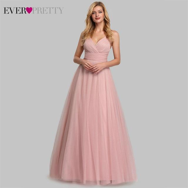 Cute Pink Bridesmaid Dresses For Women Ever Pretty EP07905PK A Line V Neck Tulle Sparkle Wedding Guest Dresses Sukienki Weselne