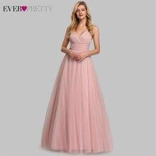 חמוד ורוד שושבינה שמלות עבור נשים אי פעם די EP07905PK אונליין V צוואר טול Sparkle חתונת אורחים שמלות Sukienki Weselne