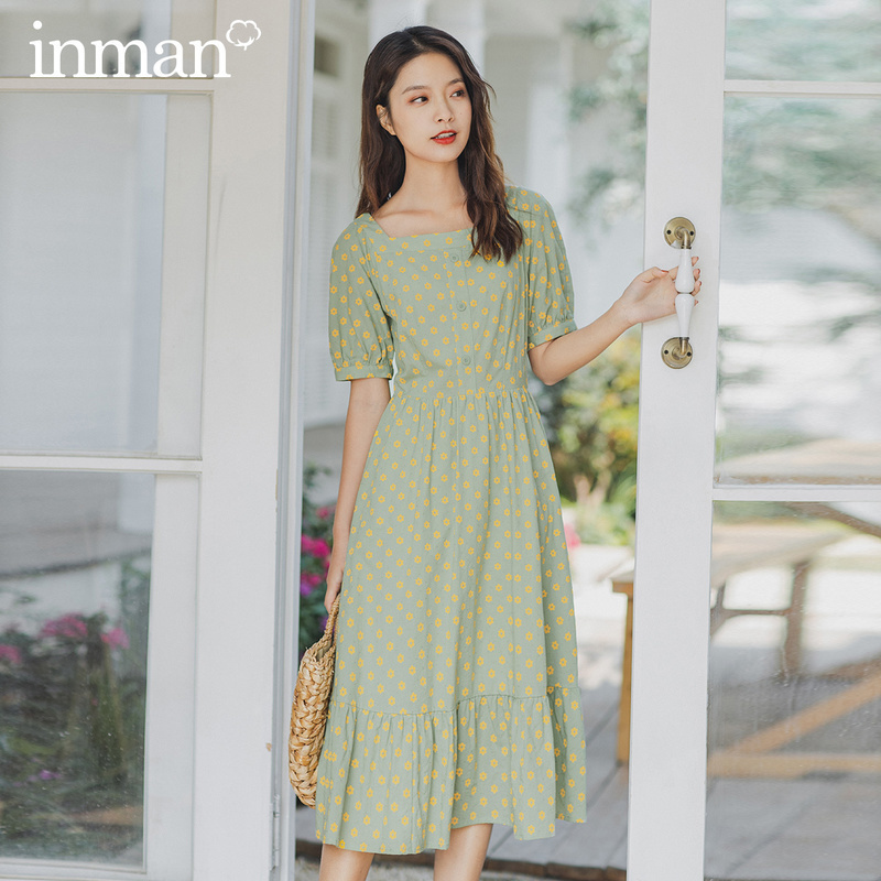 INMAN 2020 Summer New Arrival Kim Hyun Style Vintage Square Collar Sweet Daisy Short Sleeve Dress
