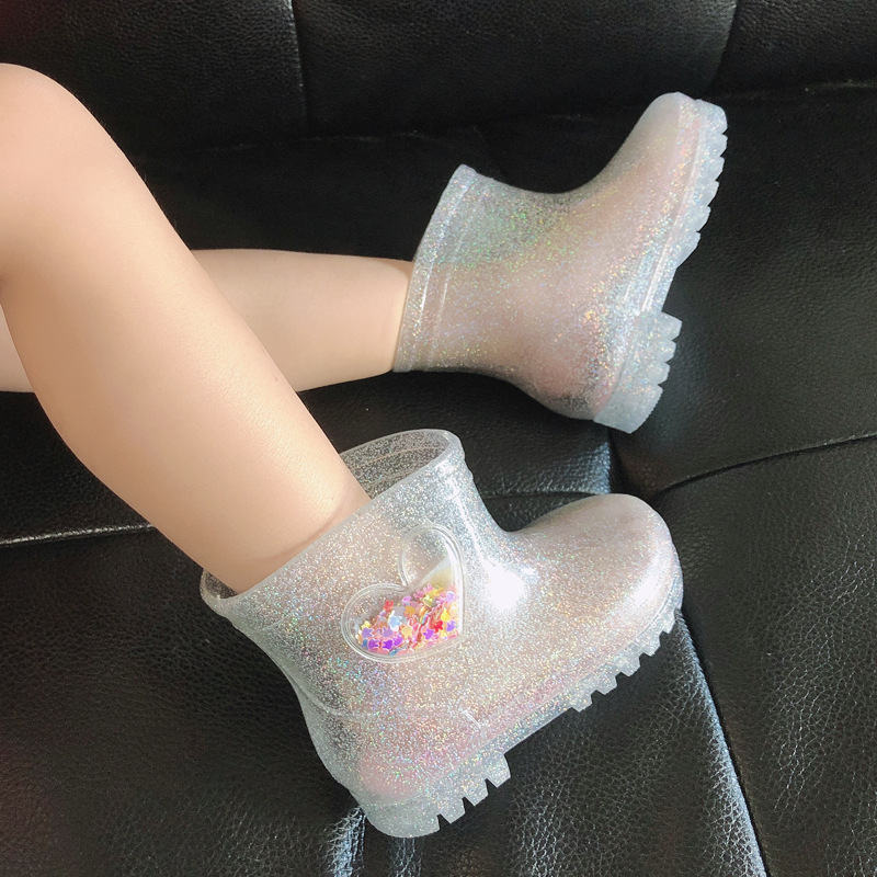 Rain Boots Kids Cute Princess Crystal Children Shoes Baby Girl LED Light  Fashion Heart High-Top Kids Winter Summer Luminous