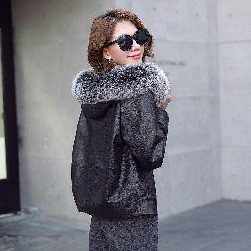 Real Fox Fur Hooded Sheepskin Coat Female Winter Duck Jacket Women 100% Natural Genuine Leather Down Coats Parkas LW2584
