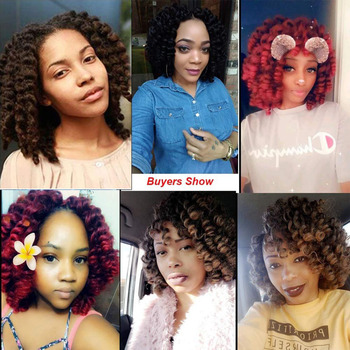 TOMO Jumpy Wand Curl Crochet Braids 8 12Inch Jamaican Bounce Curly Hair Ombre Synthetic Crochet Braiding Hair Extensions 20Roots 6