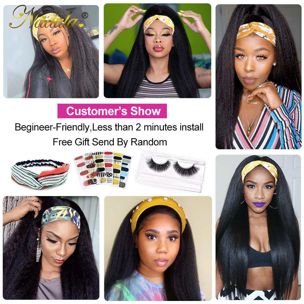 Kinky Straight 3/4 Half Wig  Nadula Hair Headband Wigs for Black Women  Headband Wig  Natural Color 6