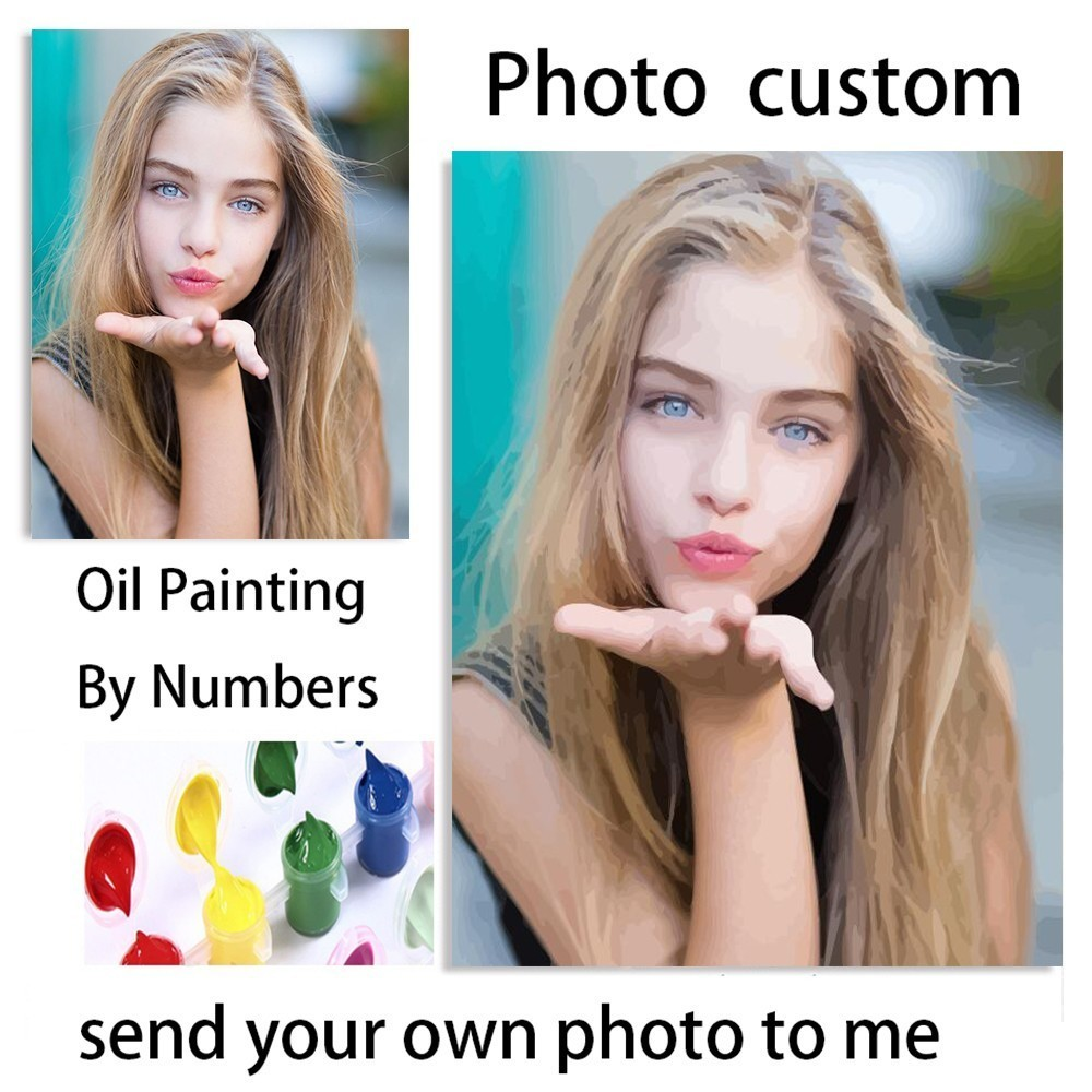 AZQSD Photo Customized DIY Oil Paint Paintings By Numbers Picture Drawing By Numbers Canvas Coloring By Numbers Acrylic