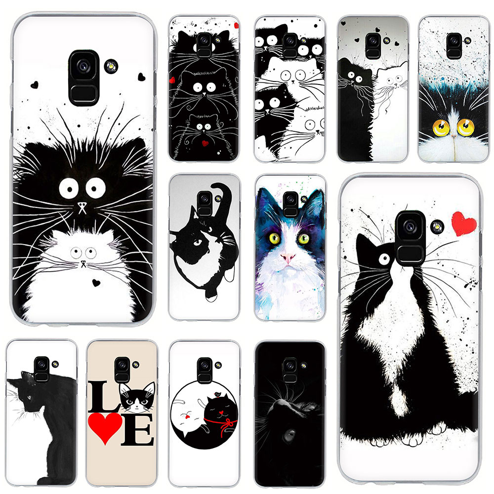 Art of black and white cat Hard Phone Cover Case for Samsung Galaxy A5 A6 A7 A8 A9 A10S A20S A30S A40S A50S A60 A70 image
