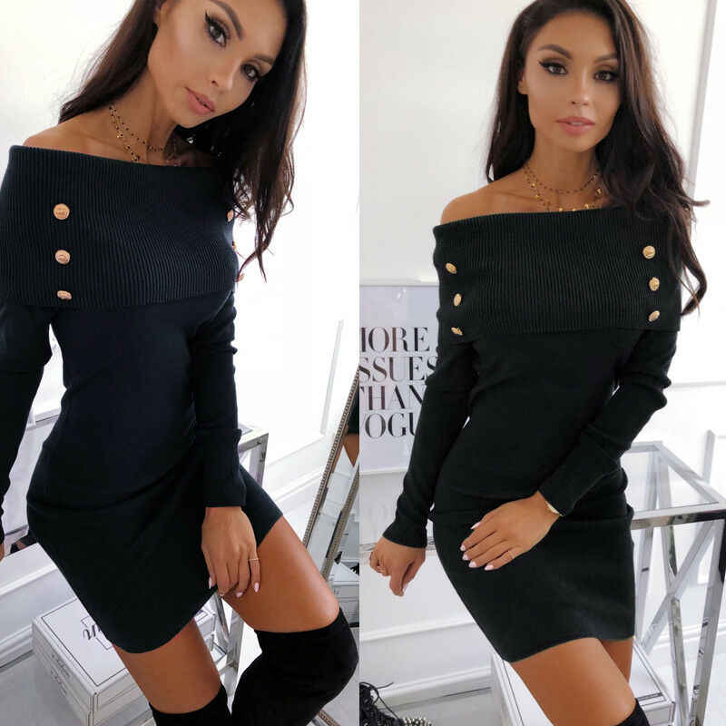 2019 Herfst Sexy Off Shoulder Gebreide Jurk Vrouwen Solid Lange Mouwen Slash Hals Knoppen Bodycon Slim Mini Jurken Party Vestidos